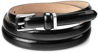Aspinal of London Ladies Skinny Westbourne Belt In Black Polish With Silver Buckle