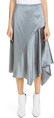 Brunello Cucinelli Stretch Silk Satin Godet Midi Skirt