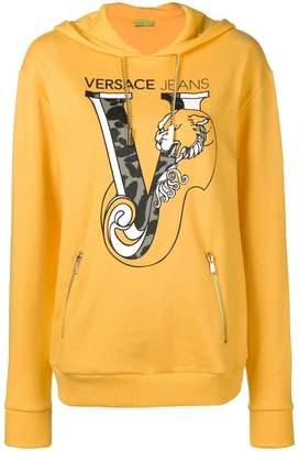 Versace printed logo pullover hoodie