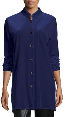 Caroline Rose Mandarin-Collar Velvet Shirt, Plus Size