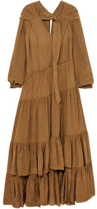 3.1 Phillip Lim Tiered Habotai Maxi Dress - Bronze