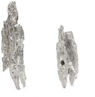Ingy Stockholm - Mismatched Painted Wood Earrings - Womens - Silver