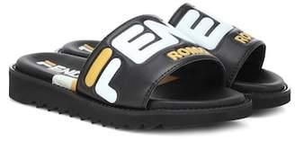 Fendi Kids MANIA leather slides