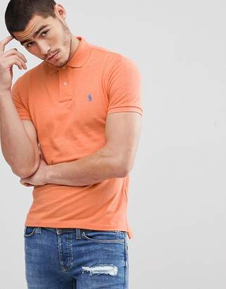 Polo Ralph Lauren Slim Fit Pique Polo In Orange Marl
