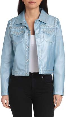 Bagatelle Collection Pearl Embellished Faux Leather Jacket