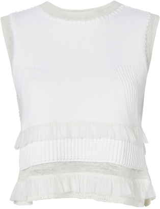 Derek Lam 10 Crosby Sleeveless Knit Frill Crop Top $395 thestylecure.com