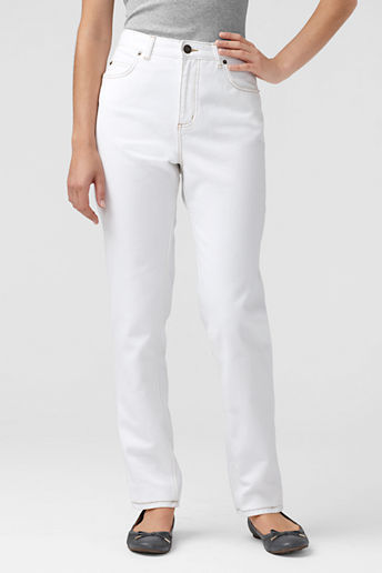 Lands' End Women's Petite Natural Traditional Fit Colored White Jeans