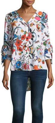 BELLE + SKY 3/4 Sleeve V Neck Woven Blouse