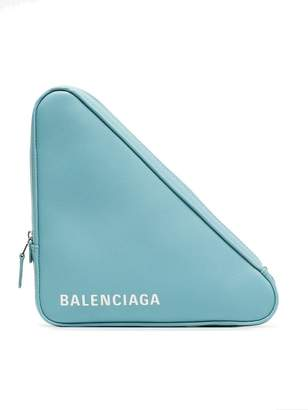 Balenciaga blue Triangle leather clutch