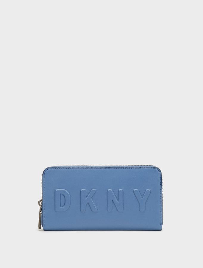 DKNYLarge Logo Debossed Zip Around Wallet