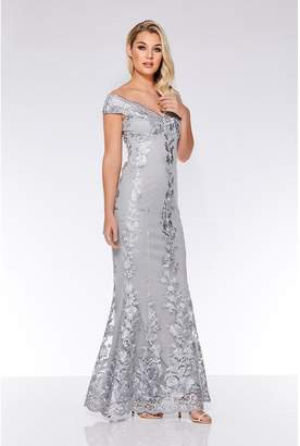 Quiz Grey Mesh Embroidered Bardot Maxi Dress
