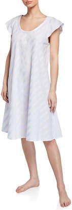 Daliah Short-Sleeve Celestine Satin Striped Short Nightgown