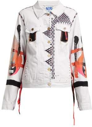 Noki - Hand Painted Denim Jacket - Womens - White Multi