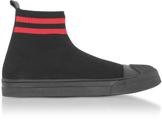 Neil Barrett Black/Red Tech Knit Fabric Skater Boots