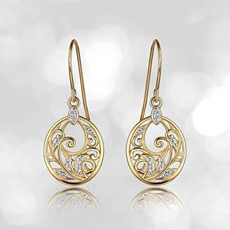18k Yellow Gold Plated Sterling Silver Diamond Accent Filigree Disc Dangle Earrings