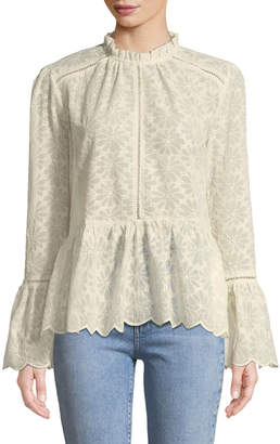Lumie Romantic Embroidered Lace Bell-Sleeve Blouse