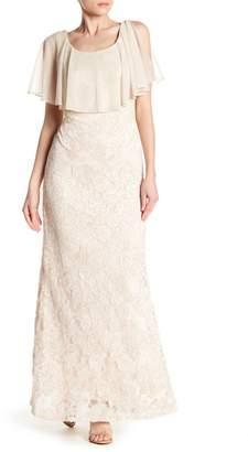 Marina Ruffle Popover Lace Dress