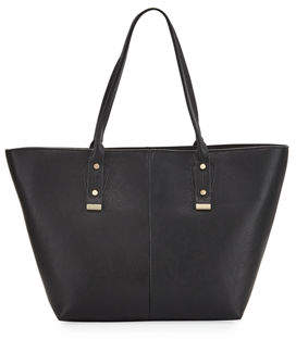 Neiman Marcus A-Line Basic Faux-Leather Tote Bag