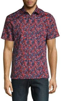 Perry Ellis Cotton-Stretch Short Sleeve Shirt