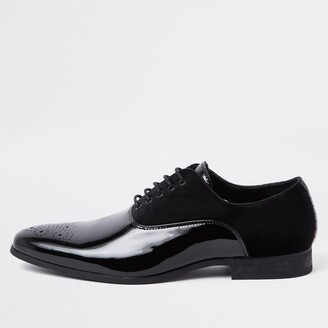 River Island Mens Black velvet lace up Oxford brogues