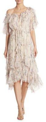 Zimmermann Paradiso Floral One-Shoulder Silk Dress $995 thestylecure.com