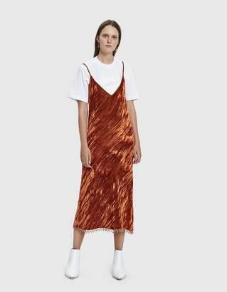 Collina Strada Barbarella Bead Trim Crushed Velvet Dress