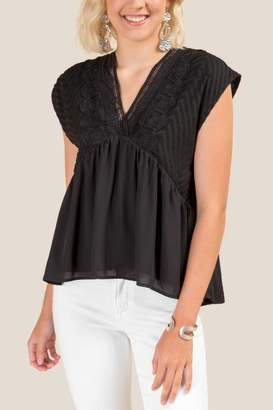 francesca's Nela Crochet Woven Blouse - Black