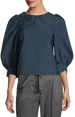 Atlantique Ascoli Florentine Puff-Sleeve Cotton-Linen Blouse