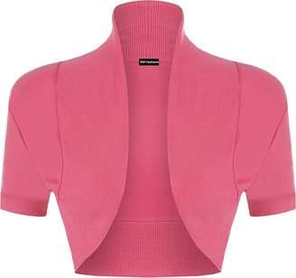 Roland Mouret Fashions Women's Plain Shrug Short Sleeve Ladies Cotton Bolero Top - Light Pink