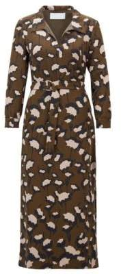 BOSS Hugo Belted dress in Italian floral-print crepe 6 Patterned