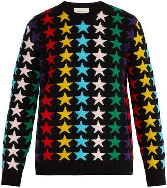 Gucci Star-intarsia chunky-knit wool jumper