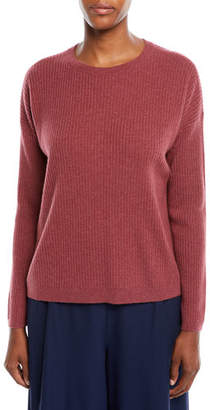 Eileen Fisher Ribbed Long-Sleeve Cashmere Sweater