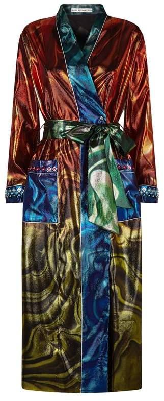 Embellished Metallic Crepe Robe