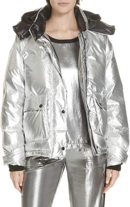 Rag & Bone Aiden Side Stripe Metallic Puffer Coat
