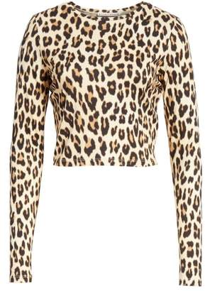 Alice + Olivia Delaina Leopard Print Crop Top