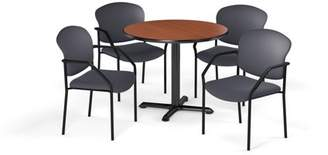 """OFM Multi-Use Break Room Package, 36"""" Round Table with Fabric Guest Chairs, Cherry Finish with X-Style Pedestal Base and Gray Seats (PKG-BRK-143)"""