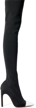 Givenchy - Leather-trimmed Stretch-knit Over-the-knee Boots - Black $1,395 thestylecure.com