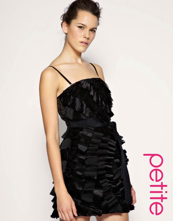 ASOS BLACK PETITE Pleated Tiered Bandeau Dress