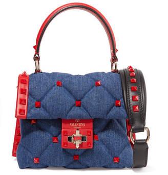 Valentino Garavani Candystud Mini Leather-trimmed Quilted Denim Shoulder Bag - Navy