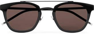 Saint Laurent Aviator-style Black Metal Sunglasses - Black