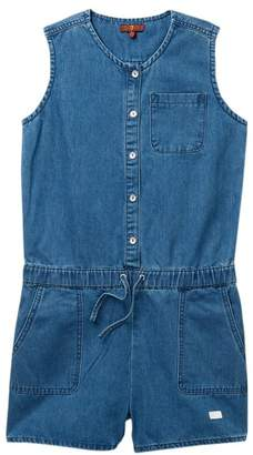 7 For All Mankind Front Button Romper (Big Girls)