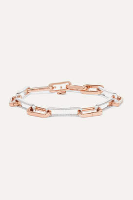 Monica Vinader Alta Capture Sterling Silver And Rose Gold Vermeil Diamond Charm Bracelet