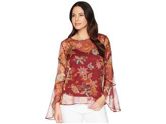 Vince Camuto Flared Sleeve Floral Print Blouse Women's Blouse