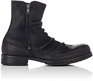 Shoto Men's Wrinkled Leather Double-Zip Boots - Black