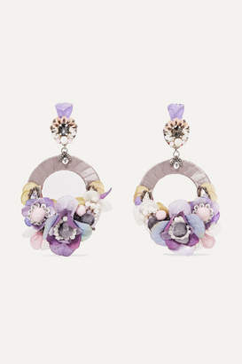 Ranjana Khan Ayla Silver-tone, Silk And Crystal Clip Earrings - Lilac
