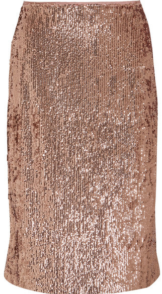 J.Crew - Sequined Crepe Skirt - Metallic