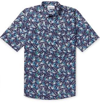 Thorsun bird print short sleeve shirt blue
