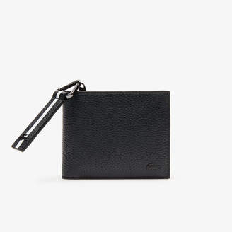 Lacoste Men's Altitude Striped Zip Pull Grained Leather Wallet