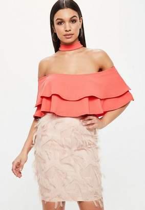 Missguided Pink Frill Bardot Choker Neck Bodysuit
