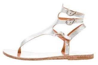 Ancient Greek Sandals Metallic Multistrap Flat Sandals